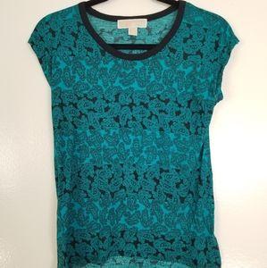 Michael Kors Teal/Black Paisley Pattern Tshirt XS